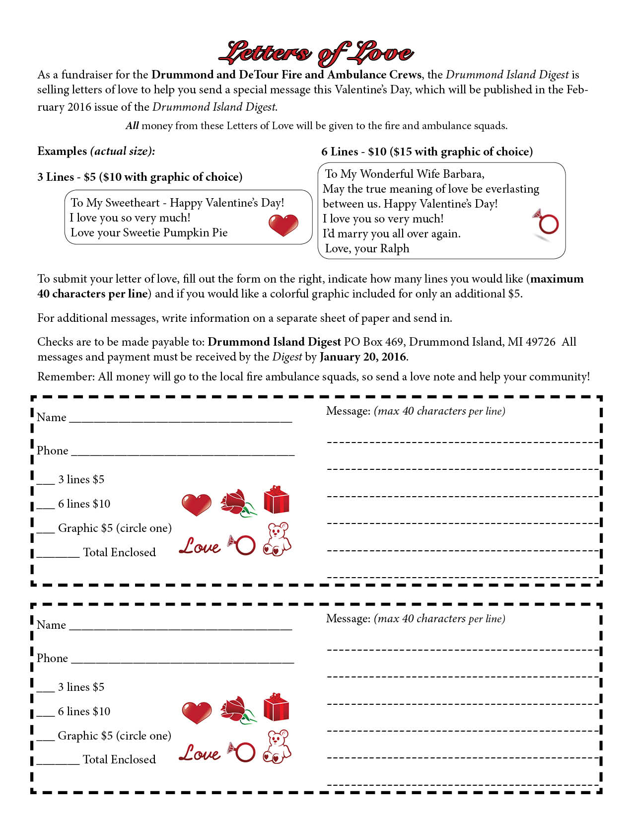 Form for sending in a Letter of Love to appear in the February 2016 issue.